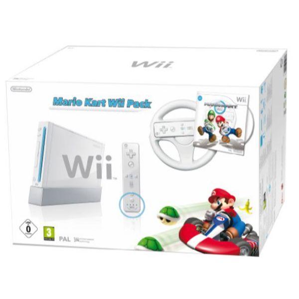 Console Wii blanche + Mario Kart + Télécommande Wii Plus – blanche + Volant Wii blanc