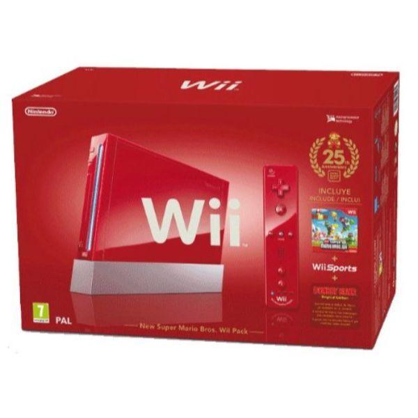 Console Wii Rouge (inclus New Super Mario Bros. Wii + Wii Sports) – Edition limitée 25ème Anniversaire Mario